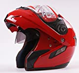 Casco modulare apribile, jet/integrale, con doppia visiera, per moto e scooter, colore: rosso