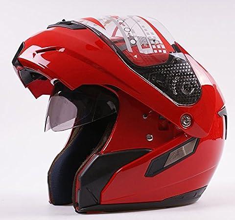 Casque moto modulable intégral/ouvert avec double visière, couleur rouge