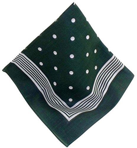 Dunkel-grünes Nickituch mit Punkten und Bordüre | Bandana aus 100% Baumwolle | 53 x 53 cm | Halstuch | Teichmann -