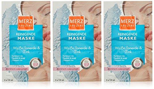 Weiß Reinigende Maske (Merz Spezial Reinigende Maske Weiße Tonerde und Zink 2x7,5 ml, 3er Pack (3 x 15 ml))