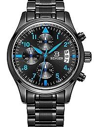 Binger Quartz avec cadran noir Chronographe Affichage et bracelet en acier inoxydable (Bleu) Hommes Sport