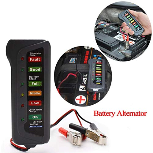 happy event 12V Car Digital Battery Alternator Tester 6 LED Lights Display Diagnostic Tool | 12 V Auto Digital Batterie Lichtmaschine Tester 6 Led-leuchten Display Diagnosewerkzeug