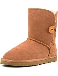 Shenduo Zapatos Invierno - Botas de Nieve de cuero con botón forradas planas clásicas para Mujer DA5803