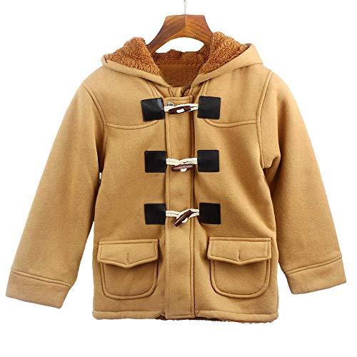TTLOVE Kinder Baby Jungen Knopf ReißVerschluss Mäntel Jacke Warme Winter Kapuze Kind Outwear Winterjacke Kapuzenjacke Kleidung(Khaki,130 cm) -