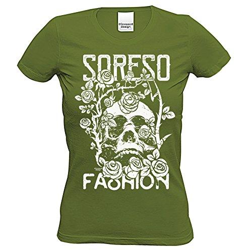 T-Shirt : Totenkopf : Skull Biker Freizeit Shirt für Frauen Mädchen : Halloween Outfit Farbe: Khaki Gr: L (Biker Halloween Kostüme Mädchen)