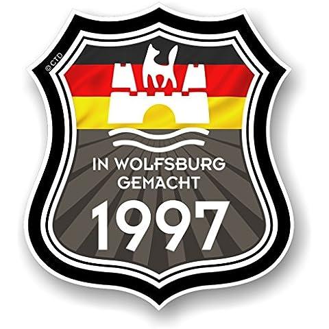 En Wolfsburg gemacht fabricado en Wolfsburg 1997Shield & Novelty de la bandera alemana vinilo adhesivo coche diseñado para adaptarse a furgoneta Volkswagen, escarabajo o Golf 120x 105mm