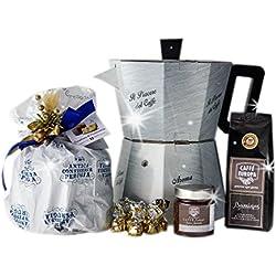 Cesta Navideña Gourmet - Cesta de Regalo con Panettone Italianos, Café y Chocolate para Navidad - La Grande Moka