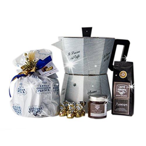 La grande moka - cesto natalizio con caffè, panettone artigianale e cioccolato