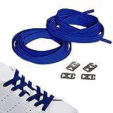 JANIRO Elastische Schnürsenkel flach mit Schnellverschluss |Flexible schleifenlose Schuhbänder ohne Binden | Kinder & Erwachsene (blau)