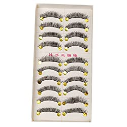 MagiDeal 10 Pairs Handmade Soft Cross False Eyelashes Beauty Makeup Long Eye lashes