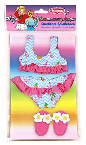 Heless 199 - Bikini mit Badeschläppchen, Flamingo, Größe 28 - 35 cm