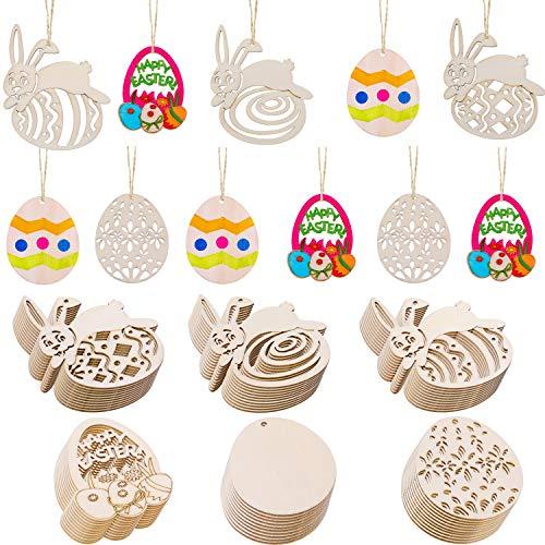 Chuangdi 60 pezzi abbellimenti in legno pasquale forma di uovo e coniglio ornamenti appesi con spago per decorazioni per feste pasquali (stile set 1, di medie dimensioni)