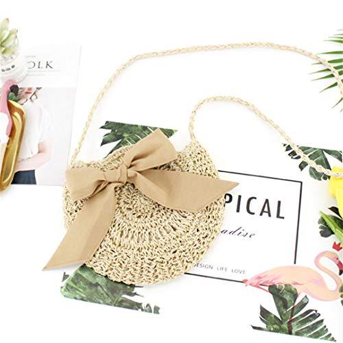 Big Bow Straw Bag Runde Papier Seil gewebt Tasche kleine frische Strand lässig Handtasche beige