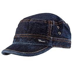 Zacharias Men's Cotton Cap (Zach-cap-Denim-men _Blue _Free Size)