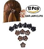 Mini Haarclips,Zoylink 12 Stück Haarspangen Vintage Blume Geformt Mini Kieferklammern Haar Klaue Clips für Frauen und Mädchen