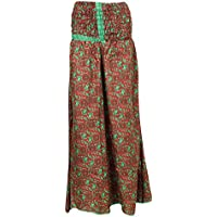 Mogul Interior Boho Divided Skirt Red/Green Vinatge Silk Sari Smocked Waist Maxi Skirts