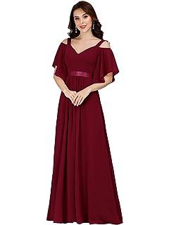 Ever-Pretty Damen V-Ausschnitt Kurze /Ärmel Hohe Taille Elegant Maxi Samt Abendkleider 00861