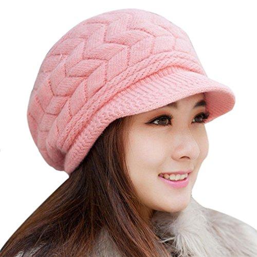 Kfnire sombreros de invierno para las mujeres las niñas de lana caliente de punto de esquí ski cráneo con visera (rosa)