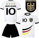 Deutschland Trikot + Hose mit GRATIS Wunschname + Nummer + Wappen Typ #D 2019 im EM / WM weiss - Geschenke für Kinder,Jungen,Baby,.. Fußball T-Shirt personalisiert als Weihnachtsgeschenk