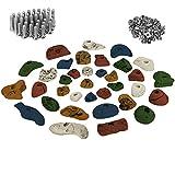 35 Klettergriffe im Starterset für Kinder, Schrauben und 100 Einschlagmuttern inklusive, Farbe:bunt
