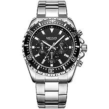 Mans Cronógrafo de acero inoxidable reloj de cuarzo luminoso pantalla 24horas relojes de pulsera para chicos hombres