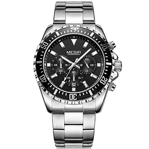 Herren Edelstahl Chronograph Quarzuhren 24-Stunden Analog Dispaly Business Armbanduhr für Männer von Megir