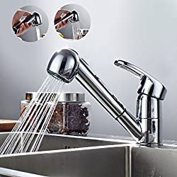 Auralum® Mitigeur Robinet d'Évier avec Douchette Extractible pour evier de cuisine en Laiton Chromé Eau Chaude et Froide