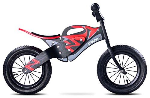 Caretero Toyz Enduro - Bicicletta per bambini, in legno, senza pedali, con ruote pneumatiche, colore: Nero/Rosso
