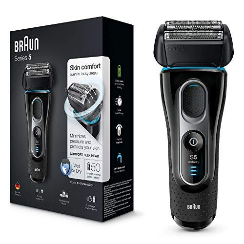 Braun Series 5 5147 s Wet&Dry,  Afeitadora Barba, Recargable e Inalámbrica, Afeitadora Eléctrica para Hombre, Recortadora de Precisión Extraíble, Negro/Azul/Cromo
