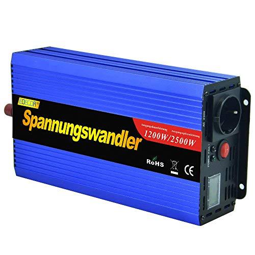 Este inversor de energia de onda sinusoidal modificada convierte 12 V DC voltaje en 220V-240V AC voltaje. Por lo que puede usarse para operar hasta 1200 vatios de 230V, 220V, 240V con dispositivos convencionales (portatil, television pequeña, radi...