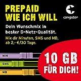 congstar Prepaid wie ich will [SIM, Micro-SIM und Nano-SIM] - Dein Wunschmix in bester D-Netz-Qualität inkl. 10 EUR Startguth