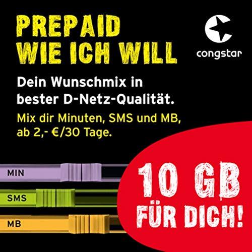 congstar Prepaid wie ich will [SIM, Micro-SIM und Nano-SIM] - Dein Wunschmix in bester D-Netz-Qualität inkl. 10 EUR Startguthaben. Mix dir Allnet-Minuten, SMS und MB.