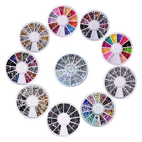 Biutee model 10 wheels Nail Art Strass Set Strass steine Nagel Kunst Dekorationen von 15000 Steinchen Flitter