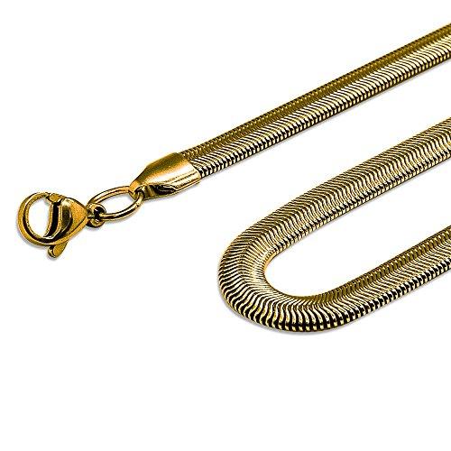 ®SoulCats catena del serpente braccialetto collana impostata acciaio barbozzale oro nero argento, dimensione:4 mm;colore:oro;selezione:braccialetto 22 cm