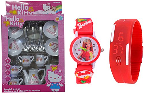 S S TRADERS - 14 Peices Kids Kitchen set for Girls with Cup Sets with Barbie Analog and Led Digital Kids watch  available at amazon for Rs.399