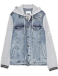 fcb3ffa2 Zara Men's Denim Jacket with Contrast Hood 1889/403 Blue