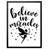 """Kinderzimmer Kunstdruck, Poster mit Spruch """"Believe In Miracles"""", Deko Bild Print Plakat DINA4, Ideal auch als Geschenk"""