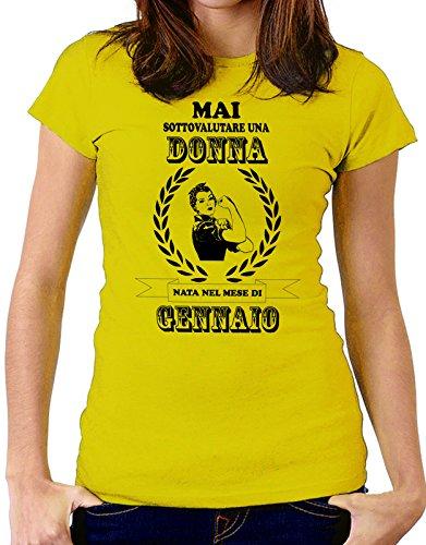 Tshirt Compleanno Mai sottovalutare una donna nata nel mese di Gennaio - humor - eventi e ricorrenze - compleanni - happy birthday - in cotone Giallo