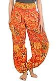 Lofbaz Women's Sweet Elephants Smocked Waist Boho Trousers Hippy Orange M