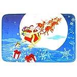 TRIXES Tappeto blu natalizio con Babbo Natale sulla slitta da appoggiare sopra altri tappeti o da mettere in bagno.