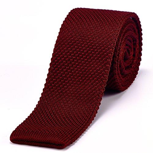 DonDon corbata de punto estrecha de color rojo oscuro 5cm