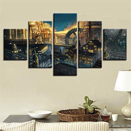 xvhsx Leinwanddrucke Malerei Modulare Kunstwerk 5 Stücke Hd Gedruckt Gebäude Und Zahnrad Landschaft Leinwandbilder Wandkunst Dekor Wohnzimmer -