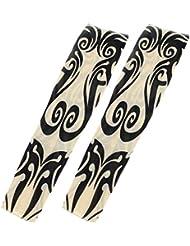 SODIAL (R) 2 Stueck Stammes Strudel Dehnbare Kuenstliche Tattoo Arm Huelsen - Schwarz & Beige