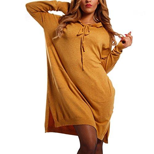 Damen Oversize Strickkleid Long Pullover mit Kapuze, Farbe:Senf;Größe:One Size