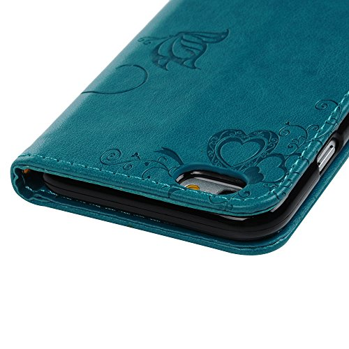 MAXFE.CO Lederhülle Leder Tasche Case Cover für iPhone 6/iPhone 6SHülle PU Prägung Muster Schutzhülle Flip Cover Wallet im Bookstyle mit Standfunktion Karteneinschub und Magnetverschluß-Grau Blau