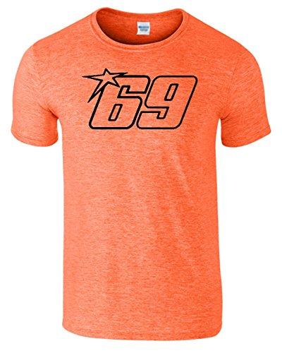 Nicky Hayden Frauen Der Männer Damen MOTO GP T Shirt Heather Orange / Schwarz Design