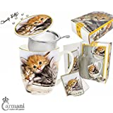Carmani - Sweety Kitty - Gatitos impresos Taza de 5 piezas con llavero de cola de gato