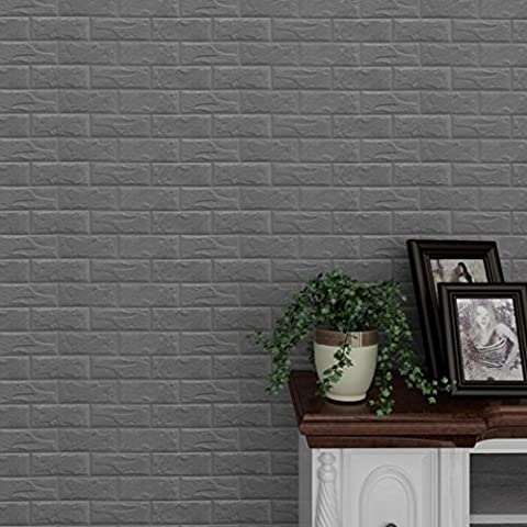 TWIFER New 3D PE DIY Foam Wall Stickers Wall Decor Embossed Brick Stone Wallpaper (Color Choices) (Gray)