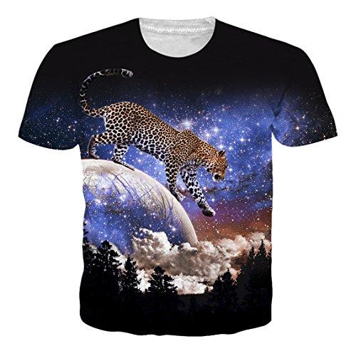 Leapparel Unisex 3D Galaxy Leopard Animal Print Kurzarm Lustige T-Shirt Top für Männer und Frauen Damen Schwarz L (Hemd Animal Print)
