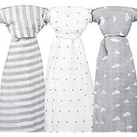 Mantas de muselina para bebé, 120 x 120 cm, 3unidades, color gris nube, diseño de rayas y estrellas